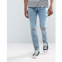Cheap Monday Tight Skinny Jeans Spear Blue Knee Rip - Blue