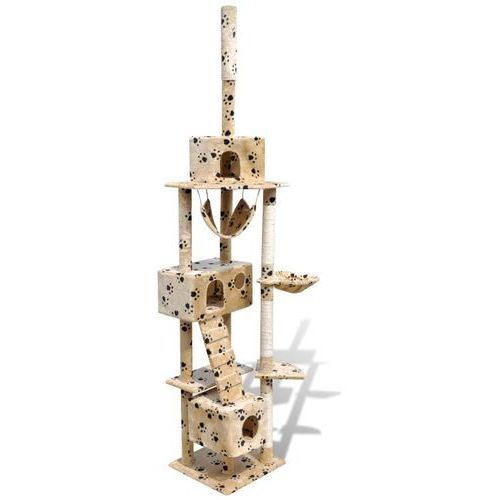 vidaXL Drapak dla kota 220 - 240 cm 3 domki, beż z motywem kocich łapek (8718475861935)
