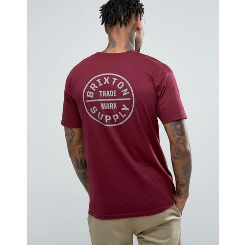 Brixton  oath t-shirt in burgundy with back print - red