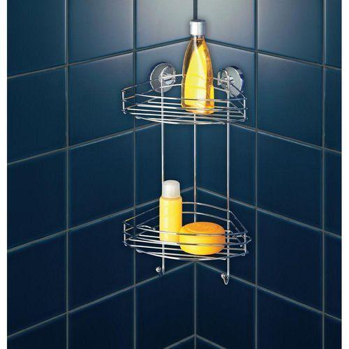Wenko Narożna półka łazienkowa, vacuum-loc, 2 poziomy - stal chromowana,