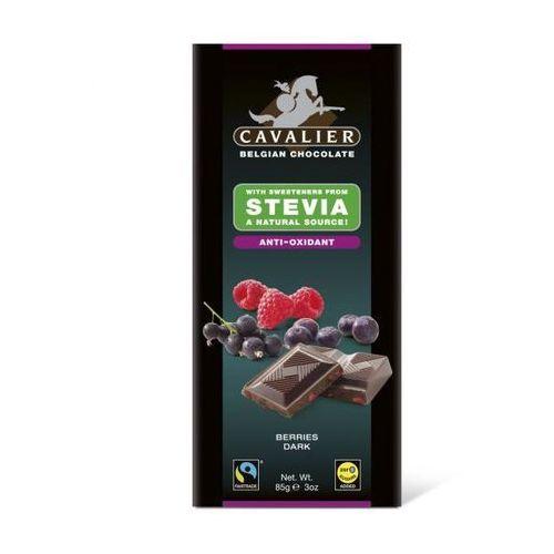 Belgijska czekolada deserowa z owocami leśnymi słodzona stewią, bez cukru, 85g, kup u jednego z partnerów