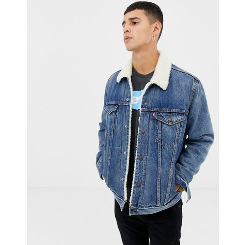 Levi's type 3 denim borg trucker jacket in mayze mid wash - Blue