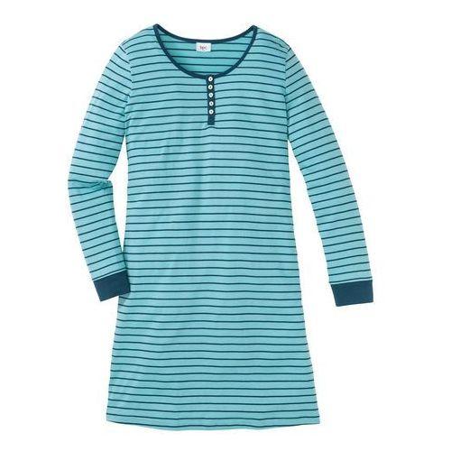 Koszula nocna, bawełna organiczna bonprix niebieskozielony - zielony w paski, w 5 rozmiarach
