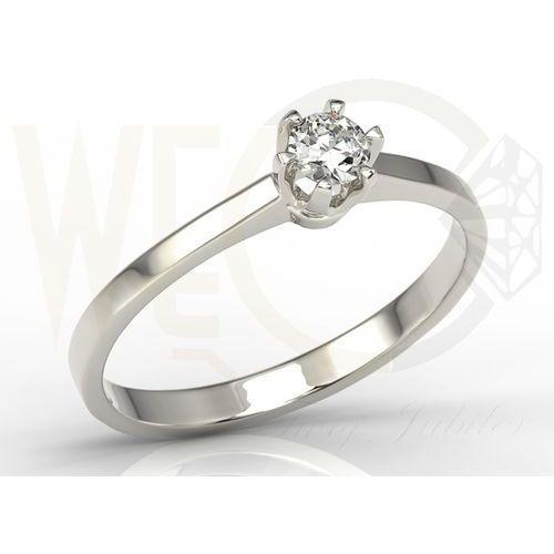 Węc - twój jubiler Pierścionek zaręczynowy z białego złota z diamentem ap-1720b - brylant 0,20 ct