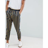 Asos design cigarette smart trouser in navy stripe with turn up - navy