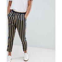 design cigarette smart trouser in navy stripe with turn up - navy marki Asos