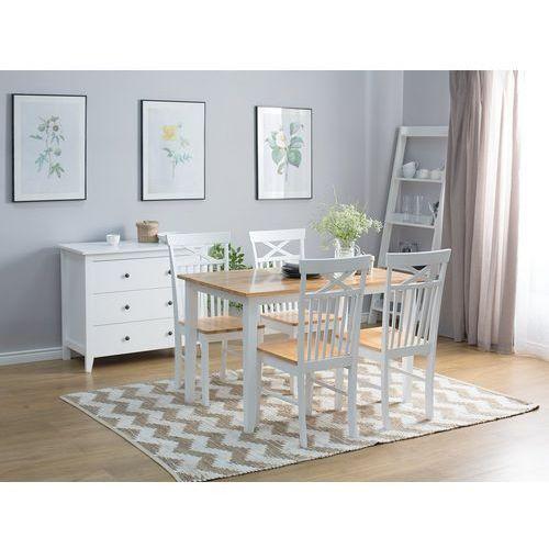 Beliani Stół do jadalni drewniany biały 120 x 75 cm houston