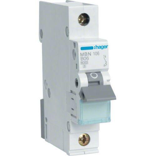 Hager MCB Wyłącznik nadprądowy Icn=6000A 1P B 16A MBN116E, MBN116E