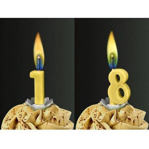Świeczki cyferki z żółtym płomieniem - 18 - osiemnastka - 2 szt. marki Sens