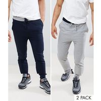 Asos skinny jogger with contrast waistband 2 pack navy/grey marl save - multi