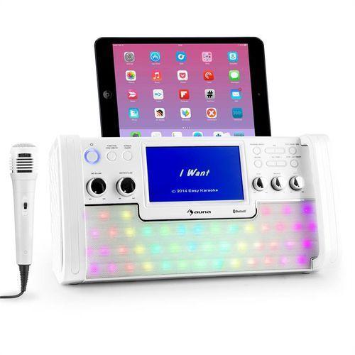 discofever zestaw karaoke bluetooth led ekran tft 7 cali cd usb biały marki Auna