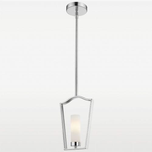 LAMPA wisząca EVO P01216CH metalowa OPRAWA ramka zwis szklana tuba frame chrom biała
