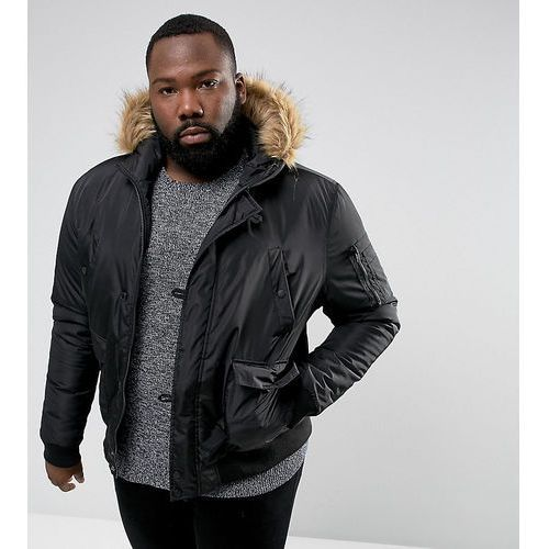 French Connection PLUS Short Padded Parka with Faux Fur Hood - Black
