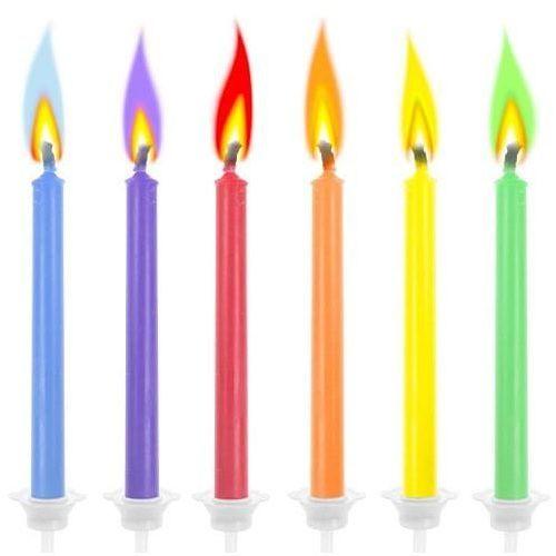 Świeczki urodzinowe, kolorowe płomienie