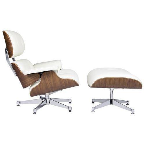 Fotel LOUNGE VA PREMIUM SZEROKI biały z podnóżkiem - sklejka orzech, skóra naturalna, kolor biały