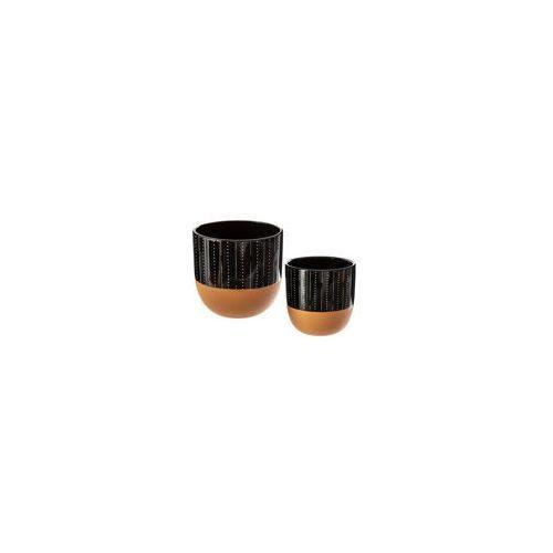 Zestaw 2 doniczek, okrągłe doniczki ceramiczne, kolor czerni i miedzi, doniczka w prążki marki Atmosphera