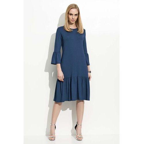 Granatowa Sukienka w Hiszpańskim Stylu z Wycięciem na Plecach, 1 rozmiar