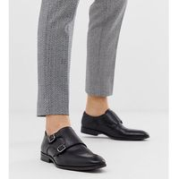 Silver street wide fit leather monk shoe in black - black