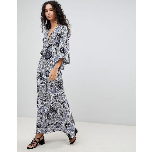 printed maxi dress with kimono sleeves - blue, Qed london