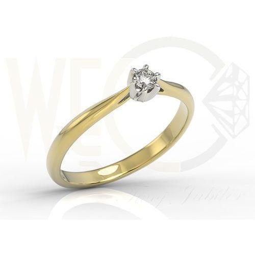 Węc - twój jubiler Pierścionek zaręczynowy z żółtego i białego złota z brylantem ap-6610zb - 0.1 ct