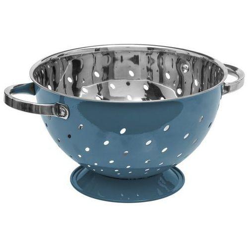 5five simple smart Niebieski durszlak ze stali nierdzewnej, wygodny w użytkowaniu metalowy cedzak kuchenny z rączką