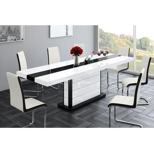 Stół rozkładany Pianosa biało-czarny wysoki połysk