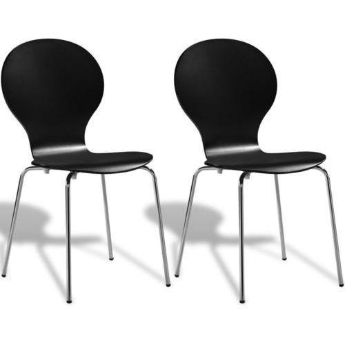 Krzesła typu motyl, składane jedno w drugie, 2 szt., czarne, kolor czarny