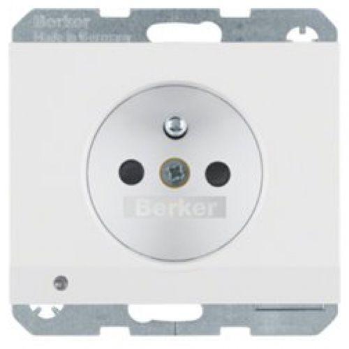 BERKER K.1 Gniazdo z uziemieniem i podświetleniem orientacyjnym LED, biały, połysk 6765107009, 6765107009