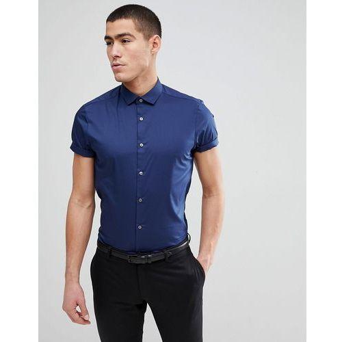 Burton Menswear Skinny Fit Short Sleeve Shirt In Navy - Navy