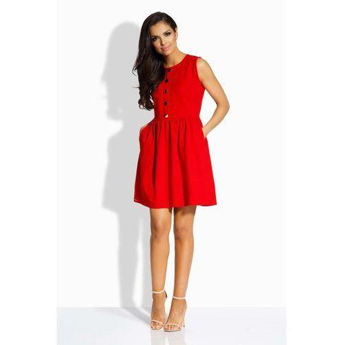 Czerwona sukienka rozkloszowana bez rękawów ze złotymi guzikami, Lemoniade, 38-40