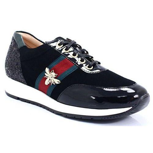 TYMOTEO 208 CZARNE - Sneakersy z owadem, skóra, kolor czarny