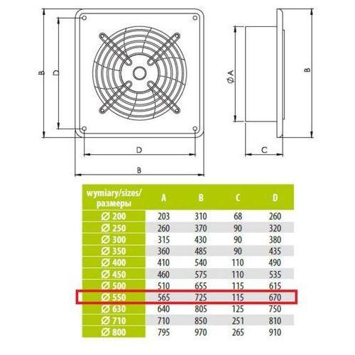 Ścienny Wentylator Wyciągowy Przemysłowy Średnice od 200 do 630 mm Bardzo Wydajny Arok Średnice: 550