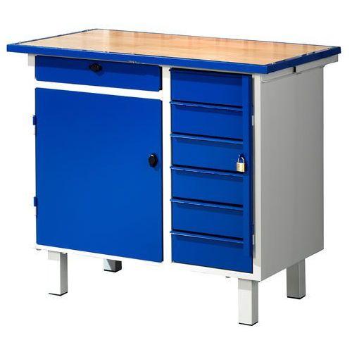 Stół narzędziowy flex, na nóżkach, 1 szafka, 7 szuflad marki Aj produkty