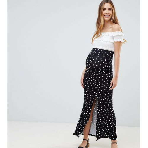 Asos design maternity maxi skirt with buttons and split in polka dot - multi, Asos maternity