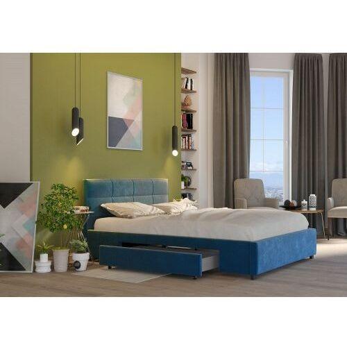 ŁÓŻKO 140X200 TAPICEROWANE AREZZO + 2 SZUFLADY + MATERAC WELUR LAZUROWE, kolor niebieski