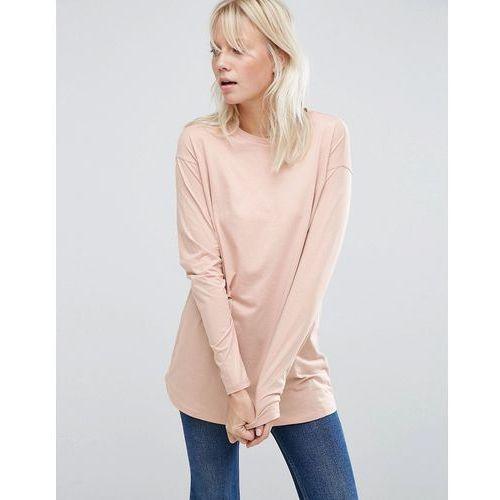 Asos  long sleeve longline t-shirt - pink