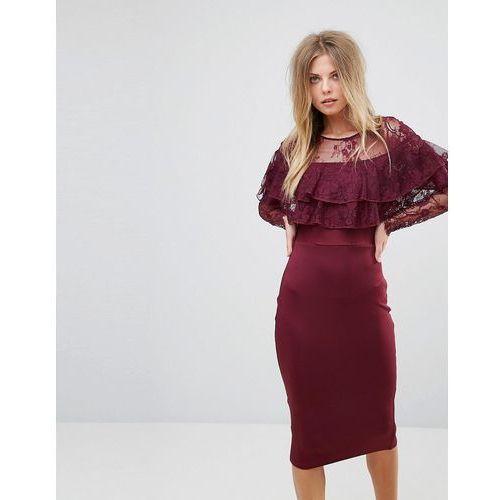 long sleeve overlay midi dress with lace detail - purple, Ax paris