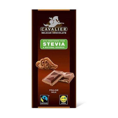 Belgijska czekolada mleczna z nadzieniem pralinowym słodzona stewią, bez cukru, 85g, marki Cavalier