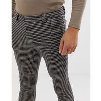 River Island skinny fit smart trousers in navy and burgundy check - Navy, kolor szary