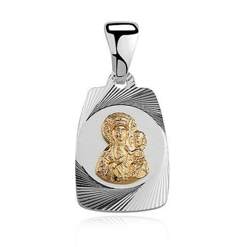 Srebrny medalik pozłacana Matka Boska Częstochowska, MD032G
