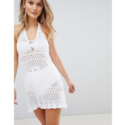 Boohoo Crochet Halterneck Dress - White