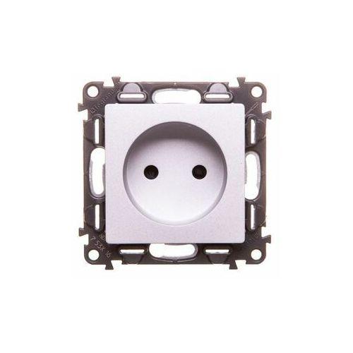 Gniazdo instalacyjne podtynkowe Legrand Valena Life 753316 pojedyncze bez uziemienia aluminium (3414970510358)
