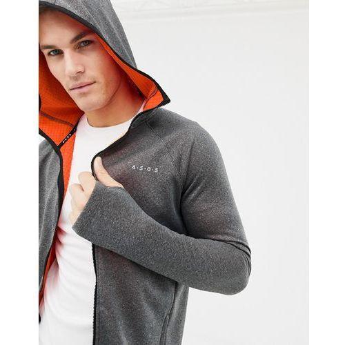 hoodie with full zip in bonded tech inner fleece and thumbholes - grey, Asos 4505, XS-M