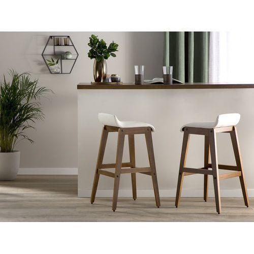 Beliani Zestaw 2 krzeseł barowych skóra ekologiczna biały cody