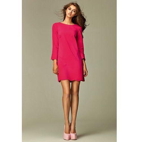Intrygująca sukienka z zamkiem na plecach - różowy - s28 marki Nife