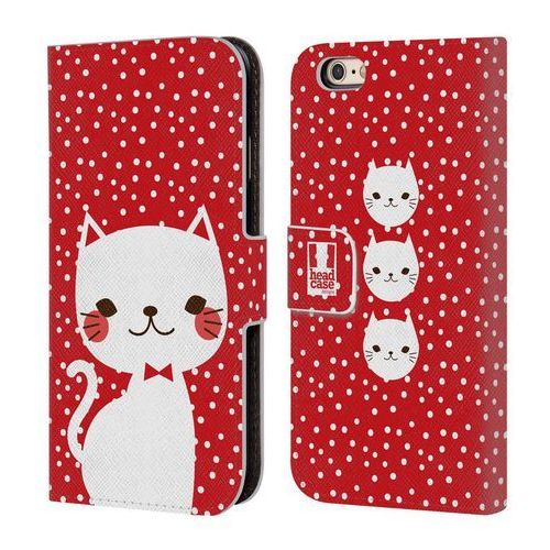 Etui portfel na telefon - Cats and Dots White Cat in Red