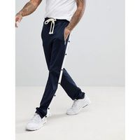 skinny fit joggers with poppers in navy - navy, Boohooman, M-XL