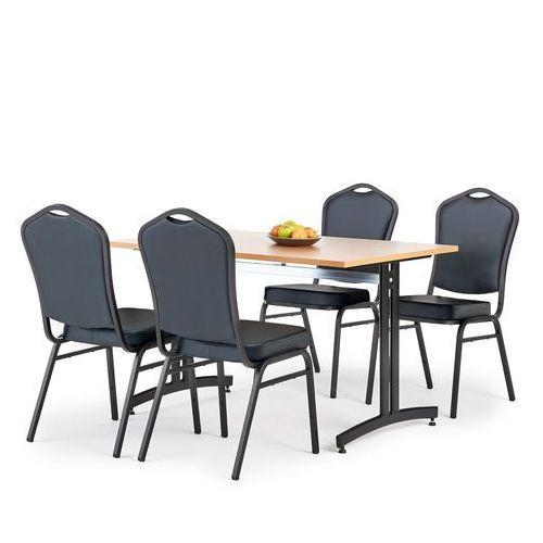 Aj produkty Zestaw mebli do stołówki, stół 1200x800 mm, buk + 4 krzesła czarna eko-skóra/czarny