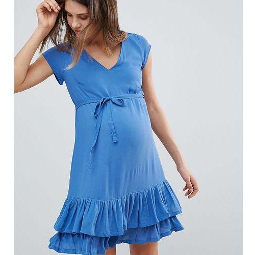 Mamalicious Ruffle Hem Dress - Navy, kolor niebieski