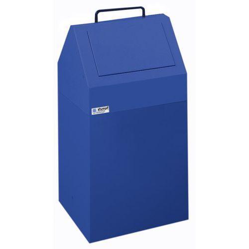 Pojemnik na surowce wtórne, poj. 45 l, stacjonarny, blacha stalowa, kolor niebie marki Stumpf-metall